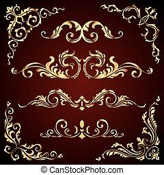 mönster, gyllene, virvlar, sätta, lik, guld, bakgrund., avdelare, dekor, vektor, calligraphic, mörk, inramar, viktorian, baner, agremanger, utsirad, sida, elementara