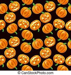 mönster, halloween, pumpa, seamless, bakgrund