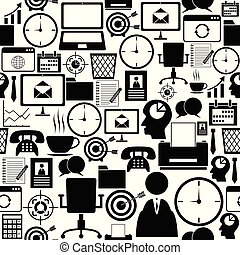 mönster, icon., kontor, seamless, bakgrund