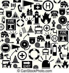 mönster, icon., nödläge, seamless, bakgrund
