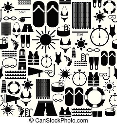 mönster, icon., seamless, bakgrund, simning