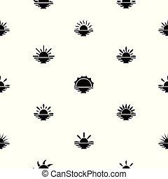 mönster, icon., solnedgång, seamless, bakgrund