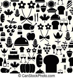 mönster, icon., tacksägelse, bakgrund, seamless