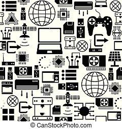 mönster, icon., teknologi, seamless, bakgrund