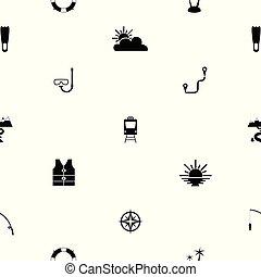 mönster, icon., turism, seamless, bakgrund