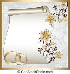 mönster, kort, bröllop, blommig