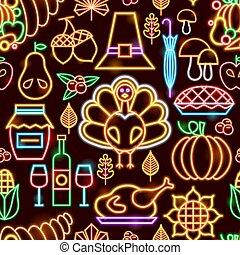 mönster, neon, tacksägelse, seamless