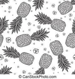 mönster, pineapples., illustration, seamless, vektor