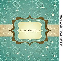 mönster, ram, retro, bakgrund, jul