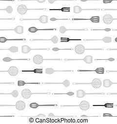 mönster, redskapen, seamless, bakgrund, kök