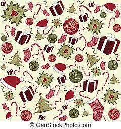 mönster, seamless, bakgrund, jul