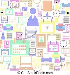 mönster, seamless, bakgrund, kontor, equipent, icon.