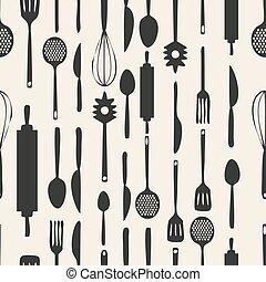 mönster, seamless, bakgrund, monokrom, redskapen, kök