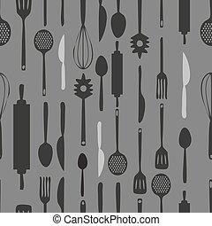 mönster, seamless, bakgrund., monokrom, redskapen, kök