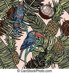 mönster, seamless, bladen, tropical frukter, toucans.