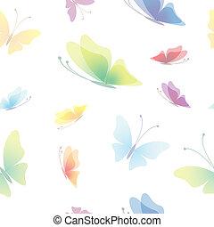 mönster, seamless, fjäril, bakgrund, vacker