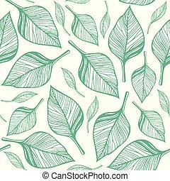 mönster, seamless, hand, vektor, grön, oavgjord, leaves.