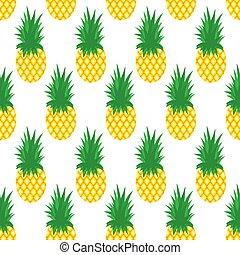 mönster, seamless, illustration, bakgrund., vektor, ananas, pineapples.