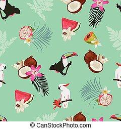 mönster, seamless, kakadua, bladen, vektor, tukan, frukter