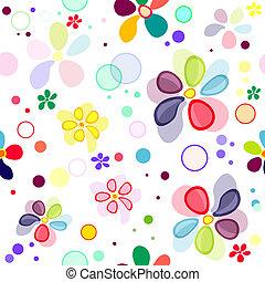 mönster, seamless, levande, blommig