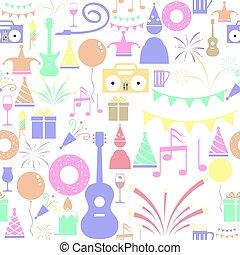 mönster, seamless, parti, bakgrund, icon.