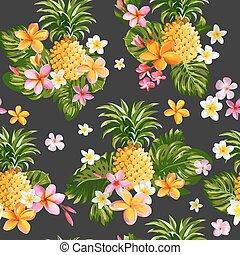 mönster, -, seamless, pinapples, tropisk, vektor, bakgrund, blomningen, -vintage