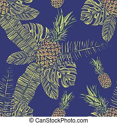 mönster, seamless, pineapples.