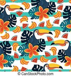 mönster, seamless, söt, frukter, tukaner