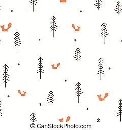 mönster, skog, seamless, vinter
