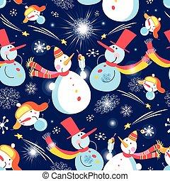 mönster, snowmen, jul