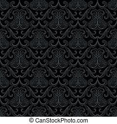 mönster, tapet, svart, seamless