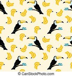 mönster, tukaner, bananer, seamless