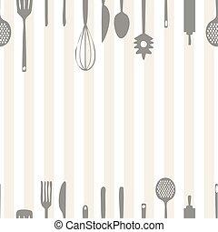 mönster, verktyg, seamless, bakgrund, kök