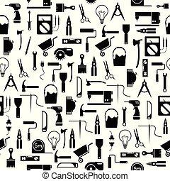 mönster, verktyg, seamless, diy, bakgrund, icon.