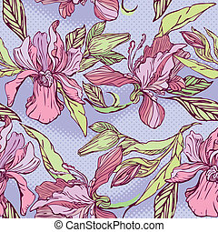 mönster, viol blommar, seamless, -, blommig, bakgrund., hand, oavgjord, orkidéer