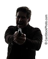 mördare, man, gevär, sikta, polisman, silhuett