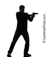 mördare, man, gevär, stående, sikta, polisman, silhuett