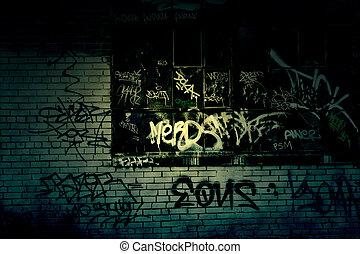 mörk, grungy, graffiti, bakgrund, gränd