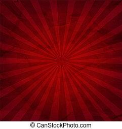 mörk, sunburst, röd fond