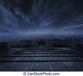 mörk, urban, över, skyn, bakgrund