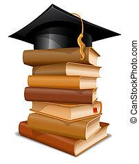 mössa, böcker, stack, gradindelning