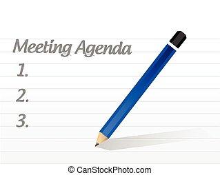 möte, design, dagordning, illustration