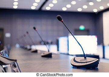 möte, mikrofoner, rum, närbild, conference., tom, press