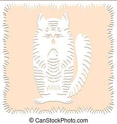 made., bakgrund, isolerat, scissors., polska, papper, vit, dekorativ, färg, fish, silhuett, traditionell, göra, snitt, galon, beige, vektor, belarusian, katt, clippings, kreatur lämna