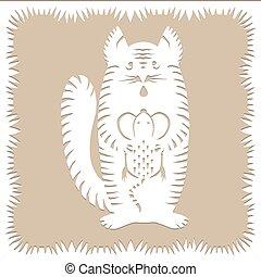 made., bakgrund, isolerat, scissors., polska, papper, vit, dekorativ, färg, silhuett, mus, randig, traditionell, göra, snitt, beige, vektor, belarusian, katt, clippings, kreatur lämna