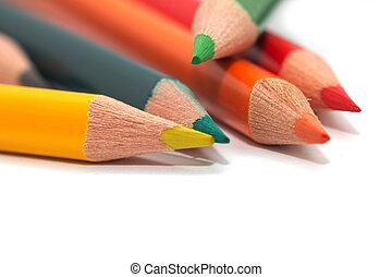 makro, pencils., färgad
