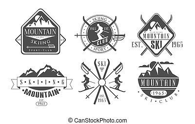mallar, fjäll, sätta, årgång, etiketter, illustration, klubba, vektor, logo, retro, skidåkning, monokrom, sport