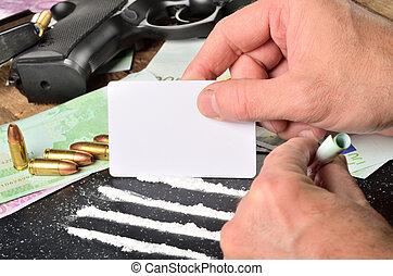 man, ammunition, kort, fodrar, gevär, sedlar, bakgrund, tillverkning, kokain, användande, vit, pistol, euro
