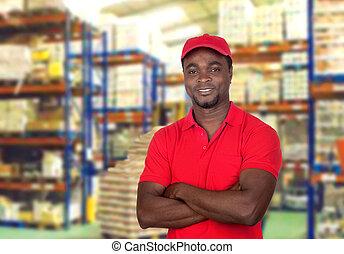 man, arbetare, röda enhetliga