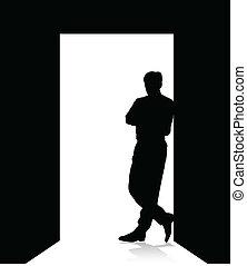 man, dörr, böjelse